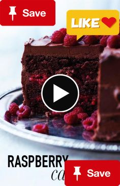 Chocolate-Raspberry  Chocolate-Raspberry Cake | Martha Stewart Living - This beauty is baked with a splash of Chambord and layered with a sweeten raspberry filling, both of which offer bright counterpoints to the thick layer of chocolate-cream cheese frosting and whole berries scattered on top.