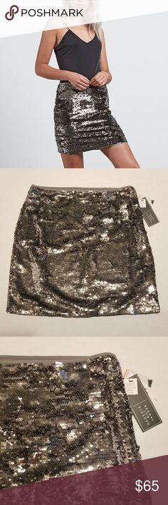 Volcom GMJ Silver Sequin Skirt Jagger BNWT Brand new with tags Volcom Georgia Ma... - My Posh Closet ,  #BNWT #Brand #Closet #Georgia #GMJ #Jagger #Posh #Sequin #silver #Skirt #Tags #Volcom Silver Sequin Skirt, Georgia May Jagger, Plus Fashion, Fashion Tips, Fashion Trends, Sequins, Brand New, Tags, Skirts