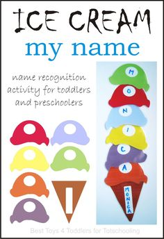 Build an ice cream cone with the letters in your name! Great preschool name recognition activity with free printable ice cream. Preschool Name Recognition, Preschool Names, Preschool Literacy, Preschool Lessons, Classroom Activities, Preschool Crafts, Toddler Activities, Activities For Kids, Crafts For Kids