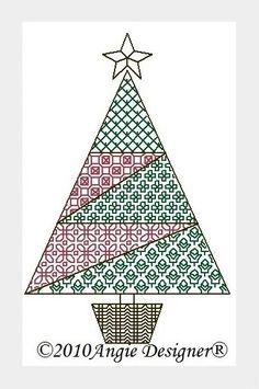 Gallery.ru / Елочка в технике blackwork от Angie - Новый год и Рождество_1/freebies - Jozephina