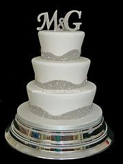First initials wedding cake with silver bling