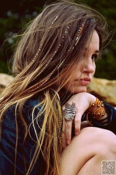 12. #Feather Locks - 29 Chic Boho Hair #Styles Your Hair Wants Now ... → Hair #Messy