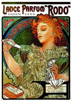 "Lance Parfum ""Rodo"" advertisement/illustration by Alphonse Mucha, Art Nouveau artist."