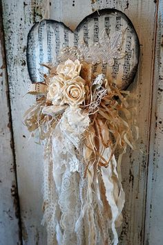 White tattered heart wall hanging shabby cottage chic