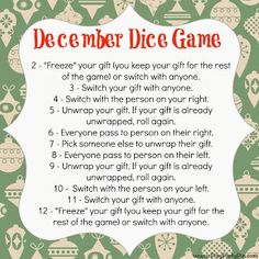 Dice Gift Exchange game - fun idea! Definitely going to try this year with my family for Christmas!