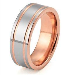 Rose Gold Tungsten Ring Mens Rose Gold Wedding Band Tungsten