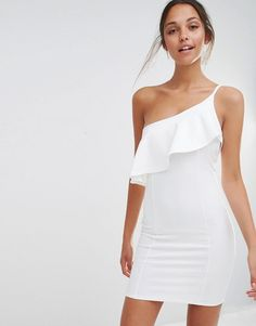 Missguided+One+Shoulder+Ruffle+Bodycon+Dress