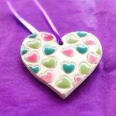 Pretty little bubble heart painted in pastel colours #ceramics #pretty #pottery…