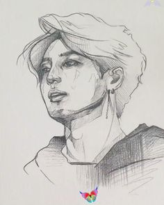Taken from instagram  <br> Kpop Drawings, Pencil Art Drawings, Art Drawings Sketches, Couple Drawings, Portrait Sketches, Character Sketches, Figure Drawing, Art Tutorials, Art Inspo