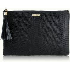 GiGi New York Uber Clutch Black Embossed Python ($170) ❤ liked on Polyvore featuring bags, handbags, clutches, real leather handbags, black leather handbags, python leather handbag, leather clutches and snake skin purse