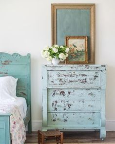 miss mustard seed | bespoke chippy empire dresser | miss mustard seed gives an antique empire dresser a makeover with Miss Mustard Seed's Milk Paint in Eulalie's Sky and Layla's Mint finished with Tough Coat