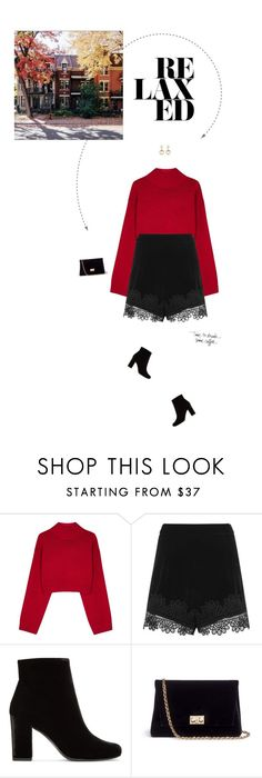 """""""Red & Black Outfit."""" by xabbielou ❤ liked on Polyvore featuring DKNY, Topshop, Yves Saint Laurent, Rodo and Gucci"""