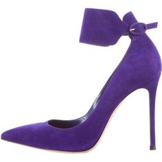 Pre-owned Gianvito Rossi Nubuck Cuff Pumps ($195) ❤ liked on Polyvore featuring shoes, pumps, purple, pointed toe shoes, gianvito rossi, pointy toe shoes, violet shoes and pointed toe pumps