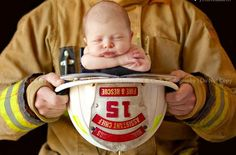 Little Fireman by Dimples and Curls Photography Soooo adorable!! Sweet sweet - a manly man with a baby!