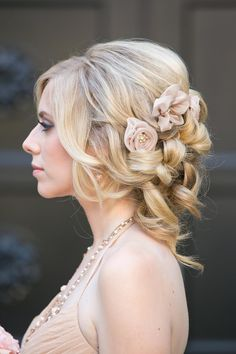 Rose Gold Fabric Flower Hair Pins with Matching Bridesmaid Dress | 10 Rose Gold Details to Steal For a Wedding That's Nothing But Regal | https://www.theknot.com/content/10-enchanting-rose-gold-details-cinderella-would-want-to-steal-from-california