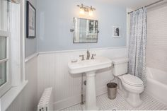 Traditional Full Bathroom with 14 sq. ft. Cape Cod MDF Beadboard Planks (3-Pack), Wainscoting, herringbone tile floors