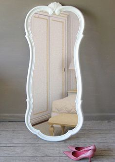 Curvy Leaning Mirror Ornate White Mirror by smallVintageAffair Leaning Mirror, White Mirror, Multifunctional, Sweet Home, Curvy, Decorating Ideas, Old Things, Wood, Glass