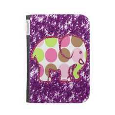 Polka Dot Elephant Sparkly Purple Girly Gifts Kindle Folio Cases