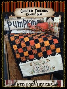 QUILTED FRIENDS HALLOWEEN Quilt pattern and kits available on myreddoordesigns.com
