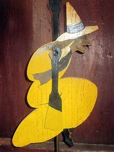 Vintage Halloween Toy ~ Wooden Folk Art Witch Whirligig