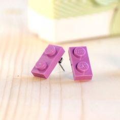 LEGO® earrings ~ Purple stud earrings ~ Lavender LEGO® post earrings ~ Gift for LEGO-lovers ~ Light purple earrings ~ Easter gift for teens Purple Earrings, Stud Earrings, Lego Party Decorations, Lego Jewelry, Cool Gifts For Teens, Lego Gifts, Teenage Girl Gifts, Recycled Jewelry, Stainless Steel Earrings