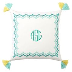 Embroidered Border Monogram Pillow Covers | PBteen