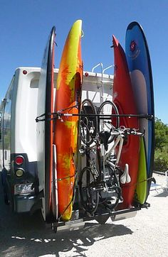 Surfboard & paddle board rack for RV.                                                                                                                                                                                 More