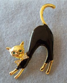 Vintage Black Enamel Cat Brooch Crystal Green Eyes Bow Tie Halloween EXC 1977 | eBay