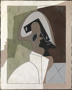 The presence of Harlequin in this enigmatic picture-signaled by the bicorne hat and the lozenges at lower right-identifies this work as a self-portrait, for Harlequin was the artist's known alter ego. At the left margin, Picasso painted the shadow of his own profile, as if he were observing the disorientation of Harlequin and, by extension, himself