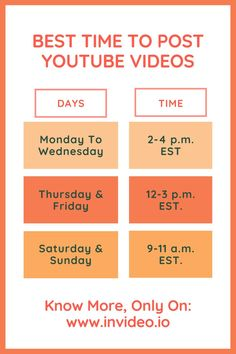 Best Time To Post YouTube Videos—Using The Analytics For Optimal Results. Visit the InVideo Blog and learn more! Youtube Time, You Youtube, Royalty Free Songs, Best Time To Post, Make A Video, Things To Come, Good Things, Prime Time, Perfect Timing