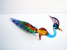 Lampwork peacock Blown Glass Figurine Vintage 1980s by Jelifem, $19.99