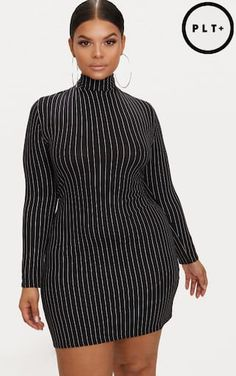 Plus Black Pinstripe High Neck Bodycon Dress. Shop the range of plus size today at PrettyLittleThing. Express delivery available. Order now Curvy Girl Outfits, Curvy Girl Fashion, 70s Fashion, Chic Outfits, Plus Size Outfits, Plus Size Fashion, Fashion Outfits, Dress Fashion, Fashion Tips
