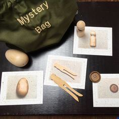 Mystery Bag in organic cotton twill with ten natural wood objects. Matching pictures of objects printed on banana paper card stock. Mystery Bag, Picture Cards, Cotton Thread, Natural Wood, Card Stock, Organic Cotton, Objects, Banana, Classroom