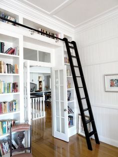 Chic Modernized Interior through Complete Renovation : Fabulous Hall Decor With Bookshelf And Ladder Smart Queenslander Renovation Ideas Bookshelves Built In, Built Ins, Bookcase With Ladder, Bookcases, Bookshelf Wall, Jacob's Ladder, Bookshelf Ideas, Bookshelf Design, Shelving Ideas