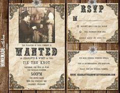 The Wanted Collection Set   Printable Wedding Invitation   Country   Western    Rustic   Antique