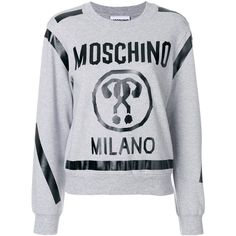 Moschino cropped question mark sweatshirt (970 BRL) ❤ liked on Polyvore featuring tops, hoodies, sweatshirts, grey, crew neck crop top, cropped crew neck sweatshirt, long sleeve crop top, grey crop top and crewneck sweatshirt