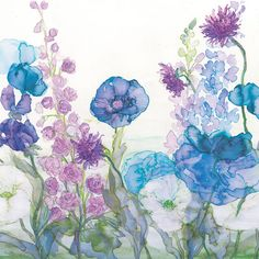 Poppies, Delphiniums, Scabious and Sweet Pea Print at Whistlefish - handpicked contemporary & traditional art that is high quality & affordable. Delphinium Bouquet, Delphiniums, Illustrations, Affordable Art, Flower Cards, Botanical Art, Traditional Art, Watercolor Paintings, Oil Paintings