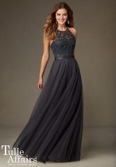 MORI LEE BRIDESMAIDS 136 FLOOR LENGTH TULLE & BEADED EMBROIDERY DRESS