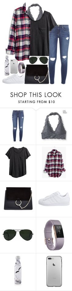 """""""Untitled #286"""" by valerienwashington ❤ liked on Polyvore featuring Frame, Aéropostale, H&M, Madewell, Chloé, adidas Originals, Ray-Ban, Fitbit and S'well"""