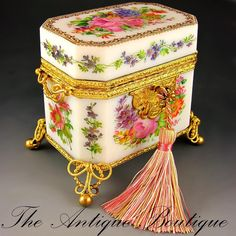 Antique French Hand Painted Opaline Glass Casket, Ornate Ormolu Mounts