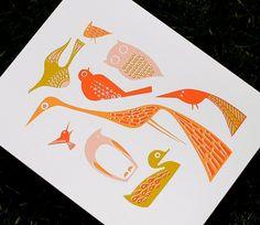 Modern Birds Giclee Art Print PINK