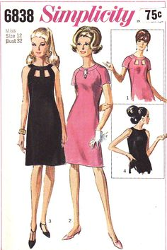"""Simplicity 6838; ©1966; Cocktail Dress. The A-line dress has back zipper, raglan-type armholes and self fabric neck band. V. 1 and 2 have short sleeves. V. 1 and 3 have """"peek-a-boo"""" openings at front neck edge. V. 3 and 4 are sleeveless. [insert your photos of this pattern made up]"""