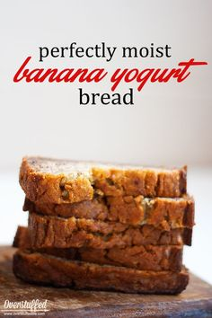 Looking for wholesome snack solutions for summer? Try this yogurt banana bread recipe--it is perfectly moist and so good! #overstuffedlife