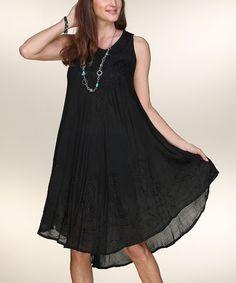 Love this Black Embroidered Sleeveless Dress on #zulily! #zulilyfinds
