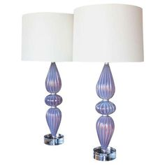 Image of Murano Lamps on Lucite Bases - Pair