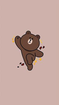 Lines Wallpaper, Brown Wallpaper, Bear Wallpaper, Kawaii Wallpaper, Cute Wallpaper Backgrounds, Cute Cartoon Wallpapers, Pattern Wallpaper, Line Brown Bear, Brown Line