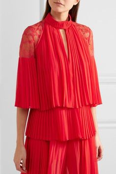 Elie Saab | Lace-paneled pleated georgette blouse | NET-A-PORTER.COM