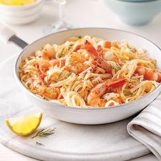 Linguines aux crevettes, sauce beurre à l'ail et vin blanc - Recettes - Cuisine et nutrition - Pratico Pratique