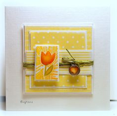 Another lovely card from Birgit. Cheery and bright and lots of layers.