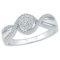 1/4 CT.T.W Round White Diamond Prong Set Promise Ring in 10K White Gold (7.00), Women's